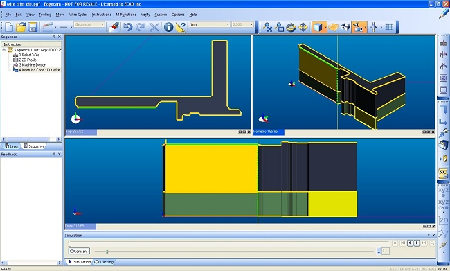 edgecam CAM system wire cutting software EDM