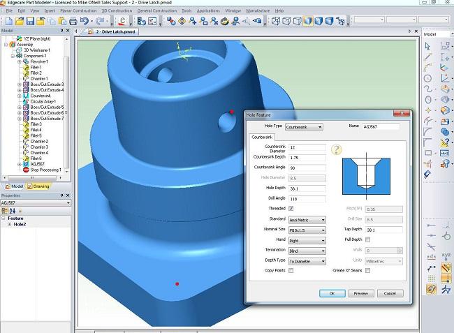 edgecam CAM sistēma modelēšanaPart Modeler