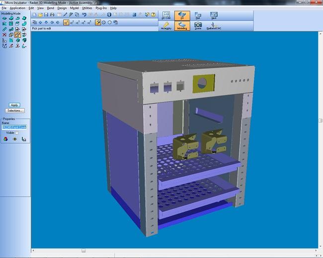 CAD design in RADAN sheet metal parts unfolding