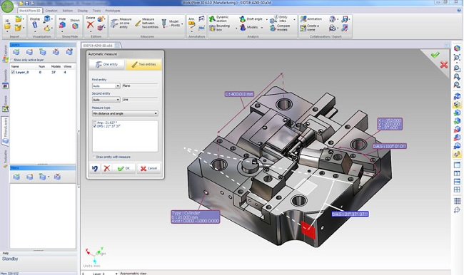 WORKXPLORE 3D CAD viewer measurement functions